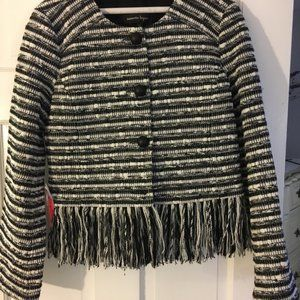 NANETTE LEPORE Black and White Fringe Jacket - NWT